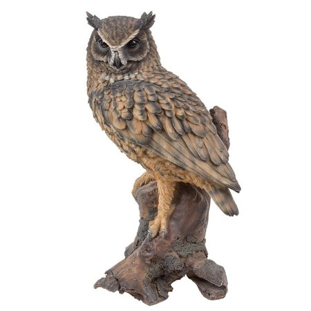 Scale Painted Resin (Ebros Gift Realistic Looking Eagle Owl Perched On Stump Statue Gallery Quality Detailed Sculpture Amazing Likeness Life Size Scale Resin Sculpture Hand Painted Statue Indoor Outdoor)