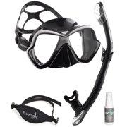 Mares X-Vision Liquid Skin Mask Ergo Dry Snorkel Set with Neoprene Mask Strap and Atlan Antifog