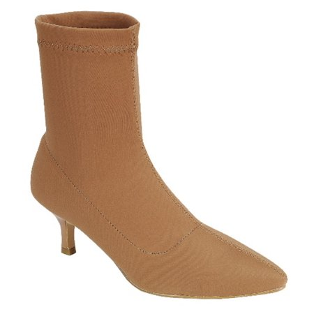 Elastic-12 Women Ankle High Stretch Sock Pointed Toe Kitten Low Heel Boots Booties Tan