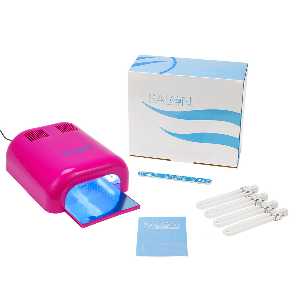 Salon Edge 36 Watt Professional Manicure UV Lamp Nail Polish Curing Dryer with Timer DARK PINK