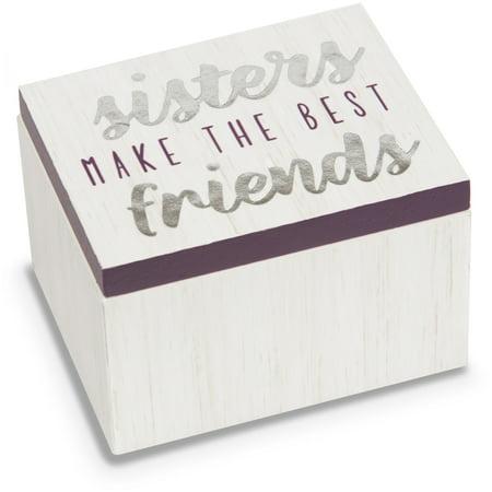 Pavilion - Sisters Make The Best Friends - Purple & White Wood Patterned Mini Keepsake Jewelry Box 2.25