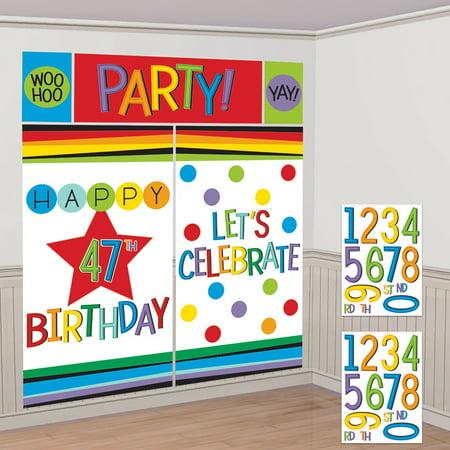 Rainbow Happy Birthday Add-Any-Age Scene Setter - Dungeon Scene Setter