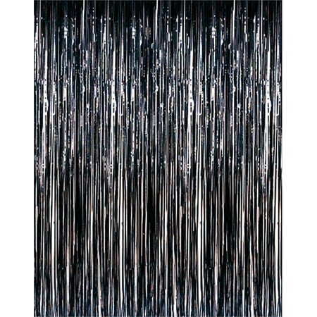 Black Metallic Fringe Curtain Party Room Decor 3' x 8' for $<!---->