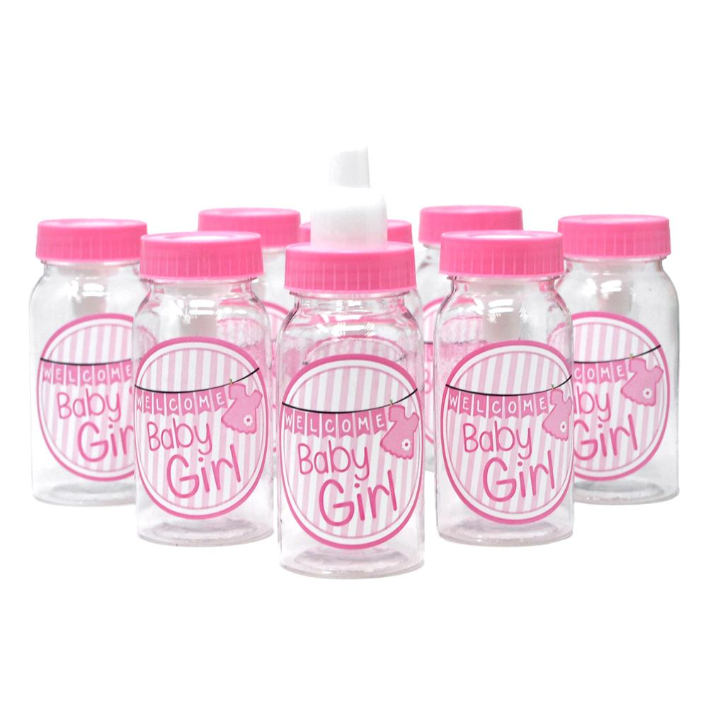 Baby Girl Clothesline Plastic Baby Milk Bottle Favors, Pink, 4-1/2-Inch, 8-Count