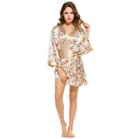 2488bb8e1 Women  s Kimono Robe 3 4 Sleeve Floral Print Belted Sleepwear Nightgown  Nightwear