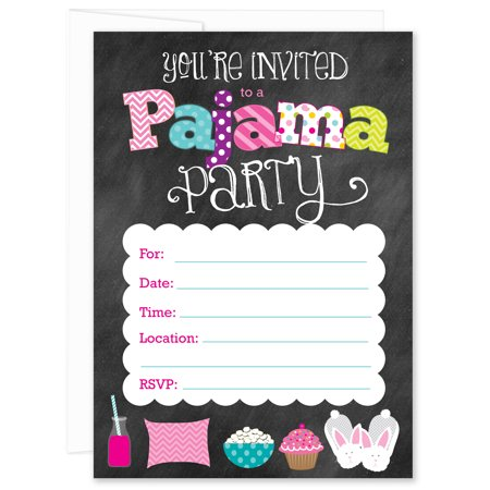 Chalkboard Pajama Party Fill-in Birthday Party Invitations (Pack of - Birthday Board