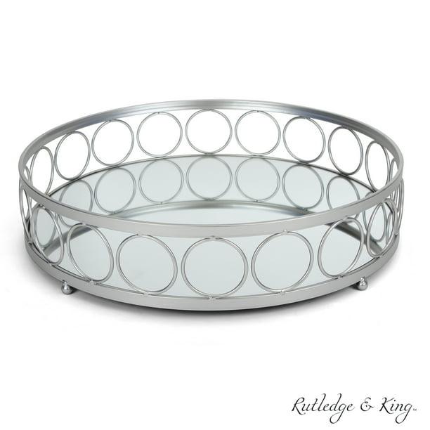 Rutledge King Ottoman Tray Silver, Silver Mirror Tray Decor