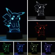3D Pokemon Pikachu Touch Sensor Lamp with USB 7 Color Changing Lights for Night Table Bedroom Decor Gift Holiday Kids