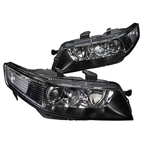 Acura TSX 4Dr Sedan JDM Replacement Black Projector Headlights Lamps Pair