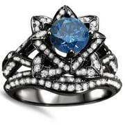 Noori Collection Noori 14k Black Gold 2ct Blue Round Diamond Lotus Flower Engagement Ring Bridal Set