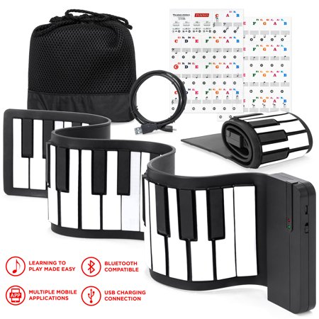 Best Choice Products Kids 49-Key Portable Flexible Roll-Up Piano Keyboard Toy with Learn-To-Play App Game, Bluetooth Pairing, Note Labels (White) (Best Piano Keyboard)