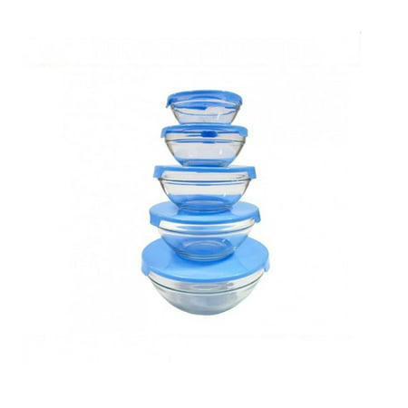 Nested Box Set (Nested Dipping Glass Bowl Set Storage Container with Lid (10 Piece) -Blue )