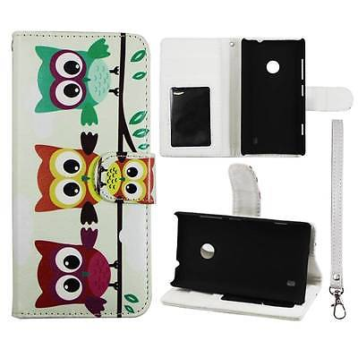 For Nokia Lumia 520  Wallet Triple Owl Syn Leather Folio Dual Layer Interior Design Flip PU Leather case Cover Card Cash Slots & Stand  Cover