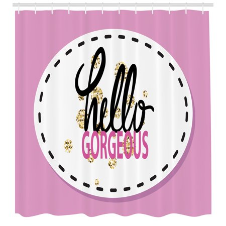 Hello Gorgeous Shower Curtain Graffiti Illustration With Patch Like Colorful Background