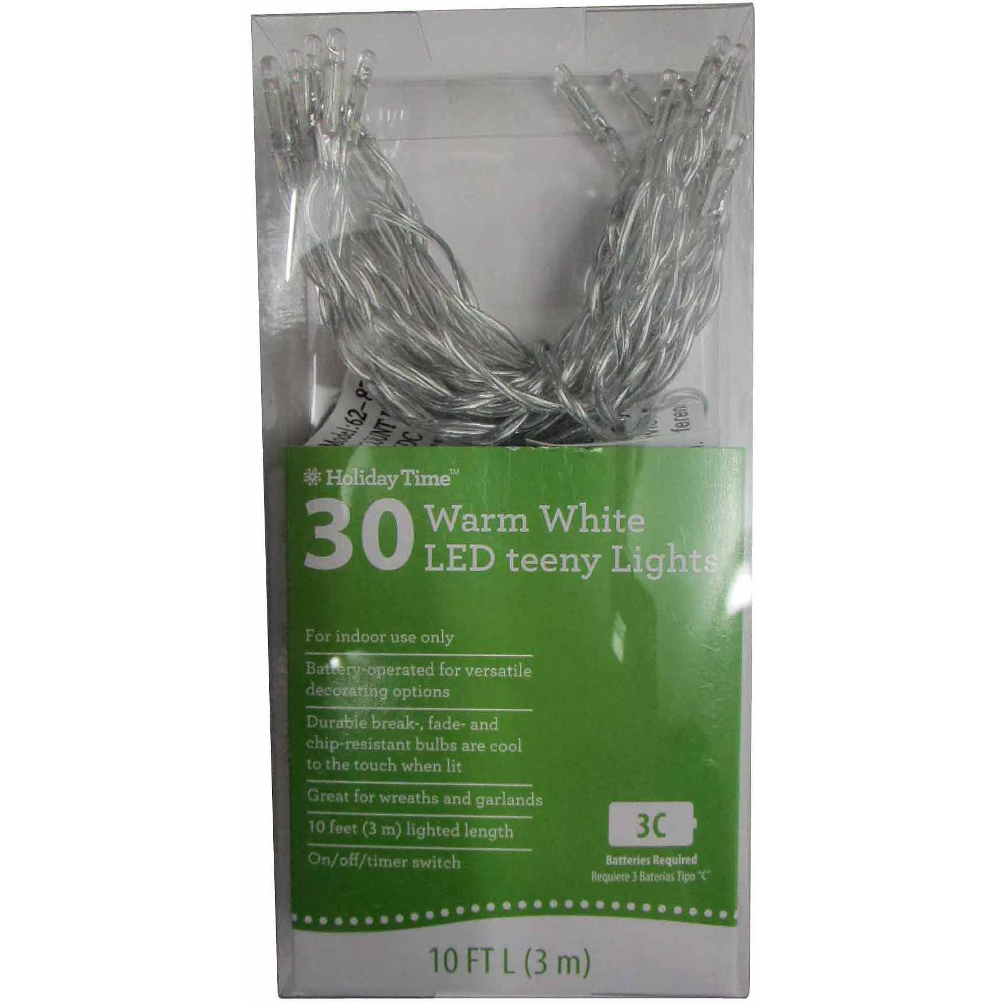 Holiday Time Battery Operated Led Light Set Warm White Bulb 30 Count