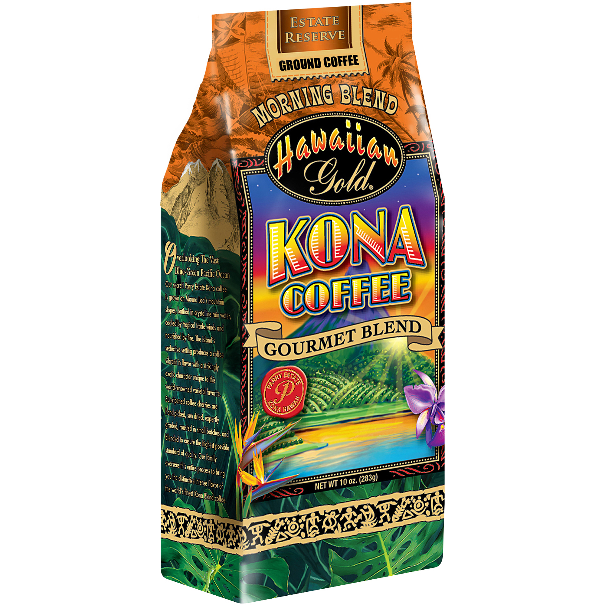 Hawaiian Gold Kona Coffee Morning Blend Ground Coffee, 10 oz