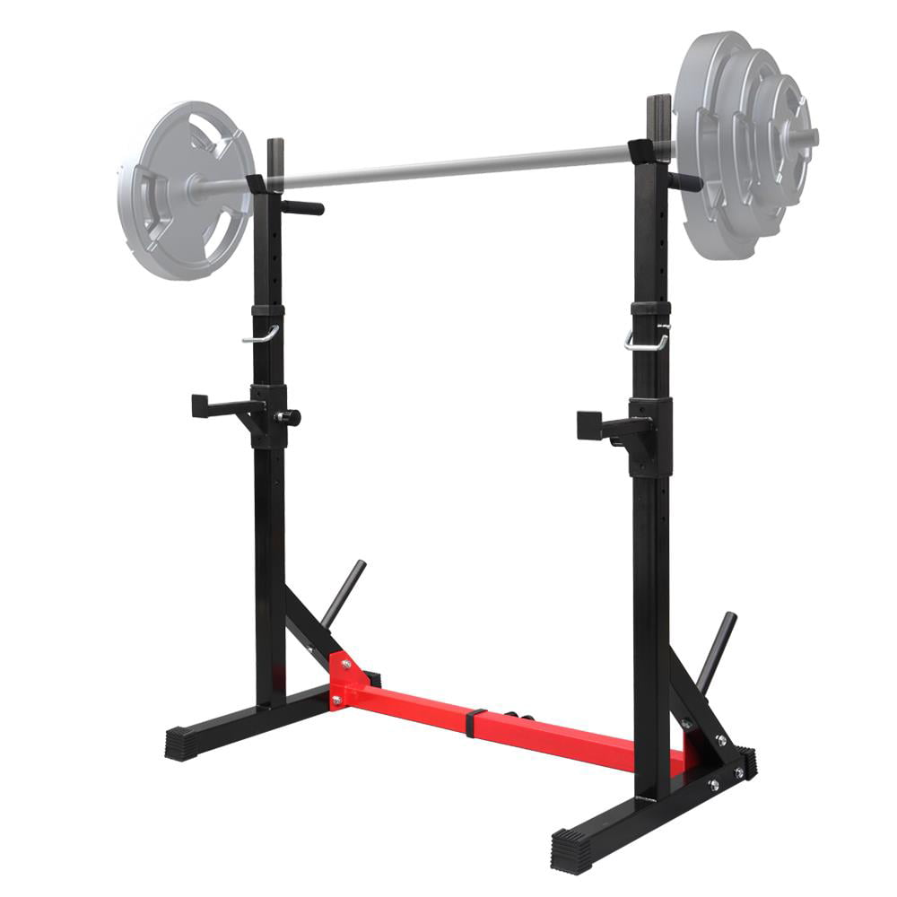 Details about  /Adjustable Squat Power Rack Weight Bench Press Barbell Stand Training Gym Home