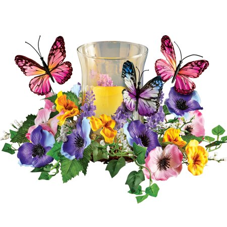 Faux Floral Candle Holder with Butterflies - Spring Tabletop Décor for Any Room in Home (Butterfly Candle Set)