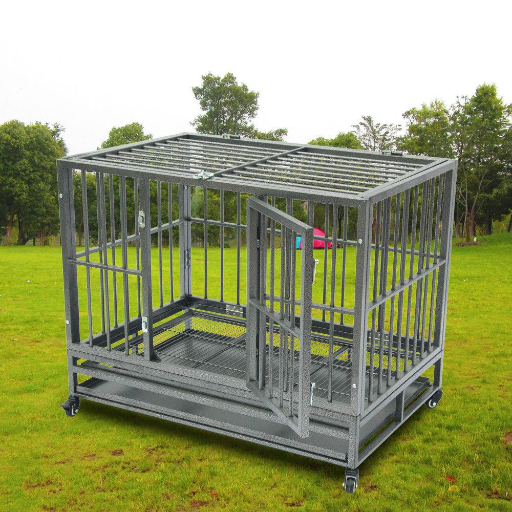 "Ktaxon 42"" Dog Crate Kennel - Heavy Duty Pet Cage Playpen with Tray Double-door Design Silver"