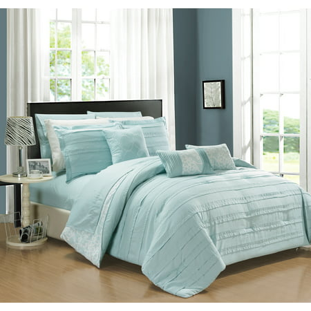 Chic Home 10-Piece Zarina Complete ruffles and Reversible Printed Queen Bed In a Bag Comforter Set Aqua Sheets Included ()