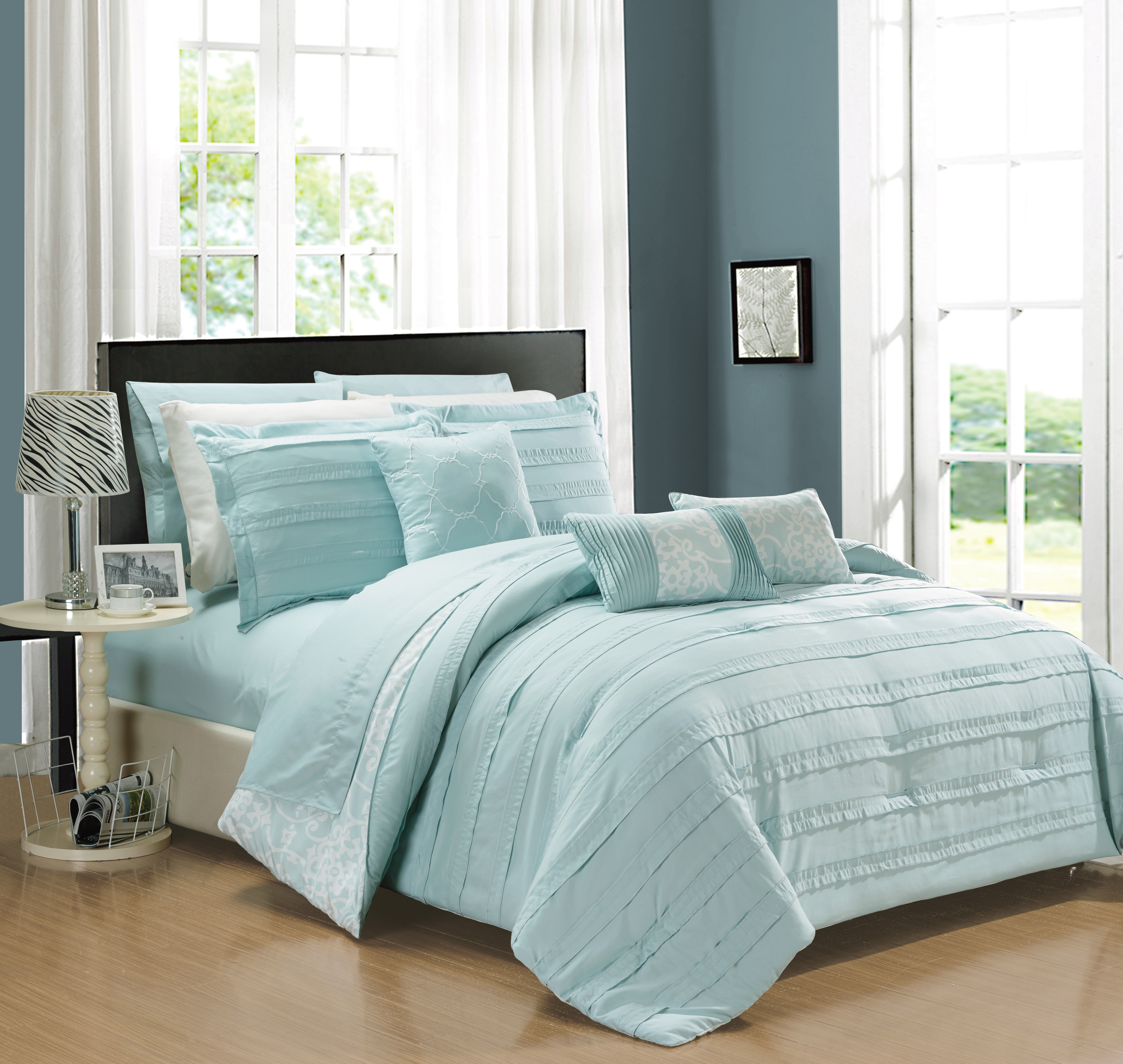Chic Home 10-Piece Zarina Complete ruffles and Reversible Printed Queen Bed In a Bag Comforter Set Navy Sheets Included