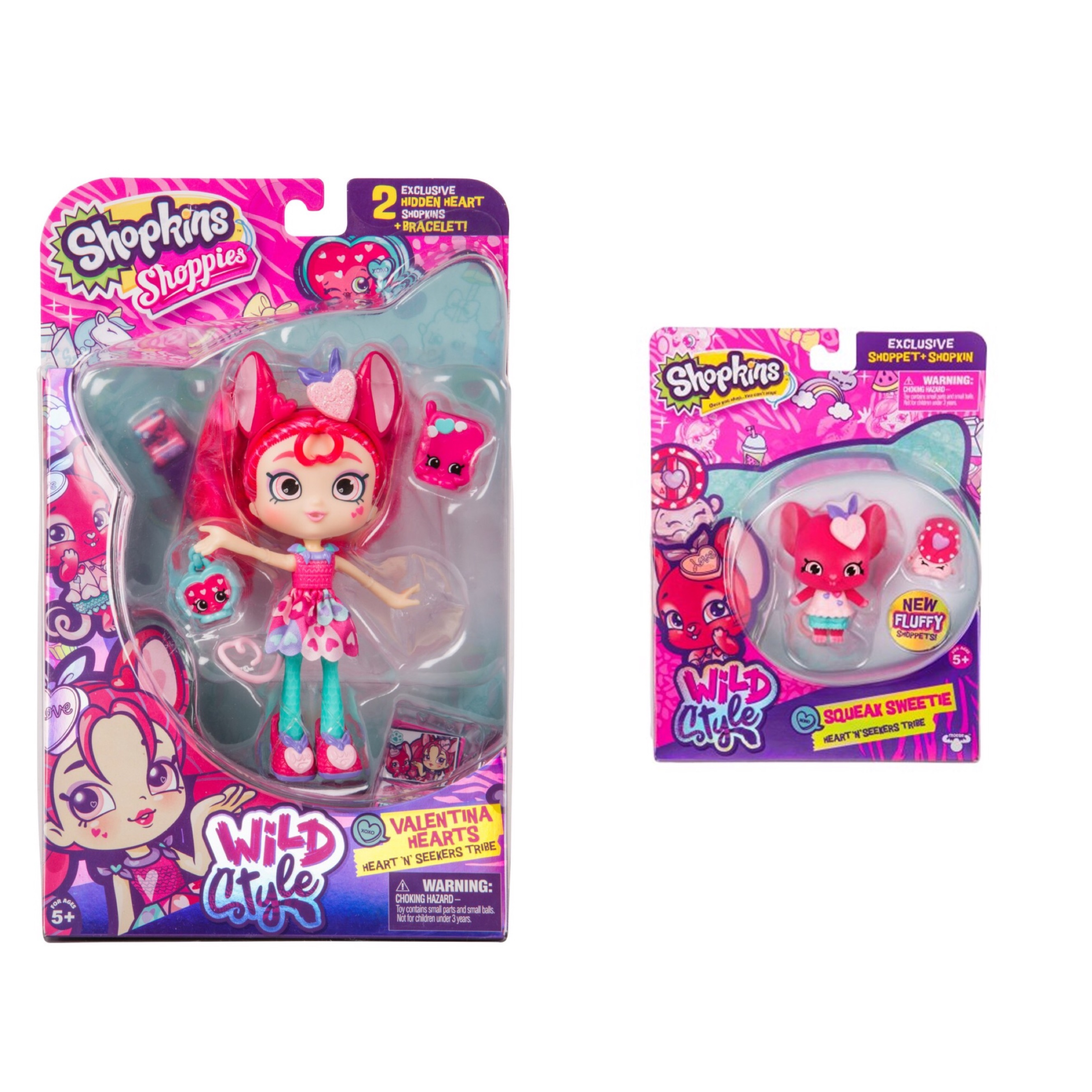 Shopkins Wild Style Season 9 Shoppie Doll Valentina Hearts and Squeak Sweetie Shoppet