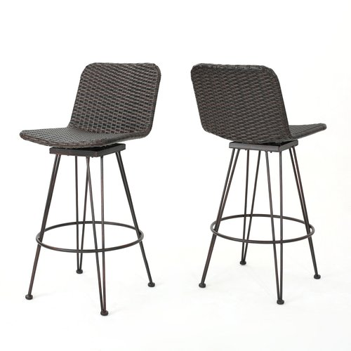 Wrought Studio Prevost Outdoor Wicker Patio Bar Stool (Set of 2)