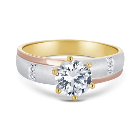 14K Tri Color Solid Gold 1 Ct. Round Cut Solitaire Cubic Zirconia CZ Wedding - ENGAGEMENT RING ONLY - size 6