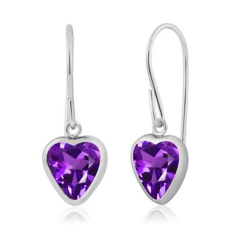 Amethyst Heart Dangle Earrings (1.48 Ct Heart Shape Purple Amethyst 925 Sterling Silver Dangle Earrings )