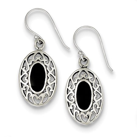 Sterling Silver Oval Onyx Shepherd Hook Antiqued Earrings