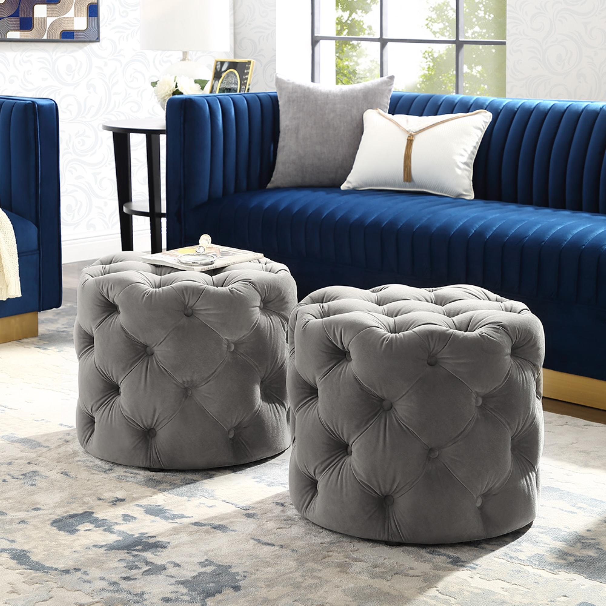 Perilous Grey Velvet Ottoman - Allover Tufted | Round | Modern Contemporary | 1 PC