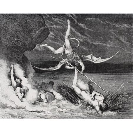 Posterazzi DPI1857070LARGE Engraving by Gustave Dore 1832-1883 French Artist & Illustrator for Inferno by Dante Alighieri Canto Xxii Lines 125 12 Poster Print, Large - 32 x 26 - image 1 de 1
