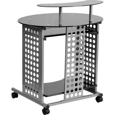 Flash Furniture Mobile Computer Desk, Flash Furniture Black Glass Computer Desk With 3 Drawer Pedestal