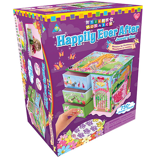 The Orb Factory Sticky Mosaics Kit Happily Ever After Jewelry Box