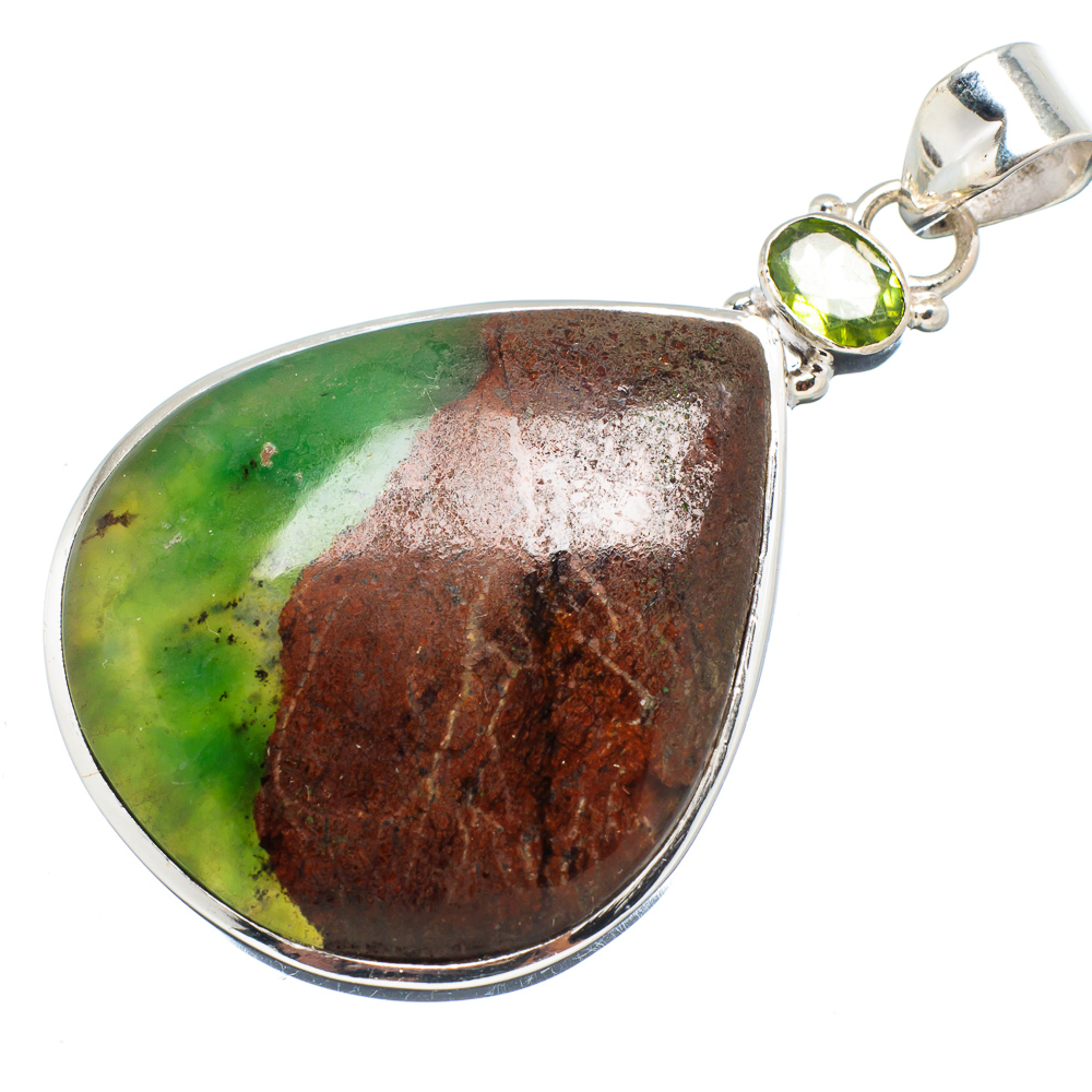 "Ana Silver Co Boulder Chrysoprase, Peridot Pendant 2 1 4"" (925 Sterling Silver) Handmade Jewelry PD607390 by Ana Silver Co."