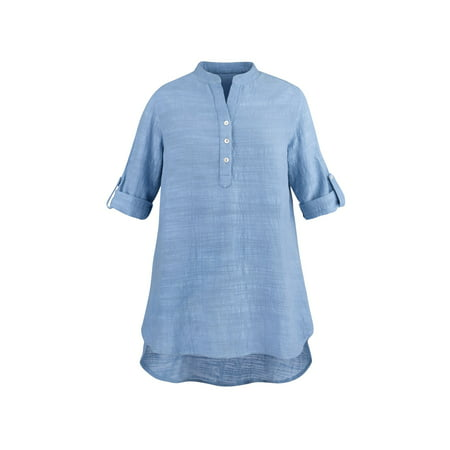 Catalog Classics Women's Soft Slub Cotton Big Shirt Tunic - Roll Tab Sleeve - Novelties Catalog