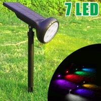 7 LED Colorful Solar Powered Lights LED Waterproof Solar Outdoor Stake Spotlight Fixture for Gardens, Pathways, and Patios by Pure Garden