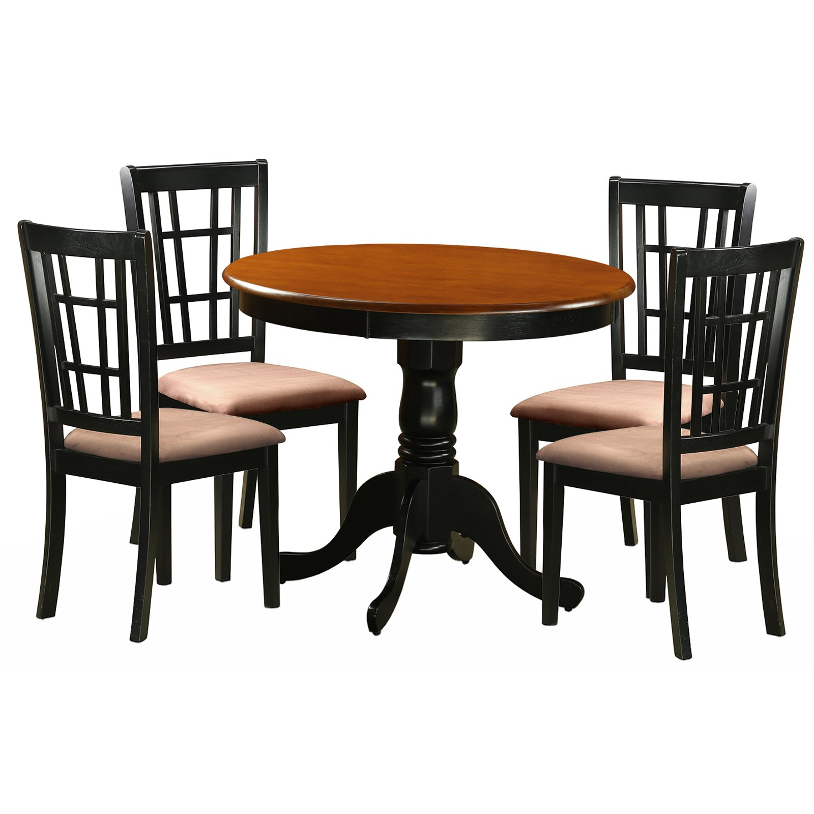 East West Furniture Antique 5 Piece Pedestal Round Dining Table Set with Nicoli Microfiber Seat Chairs