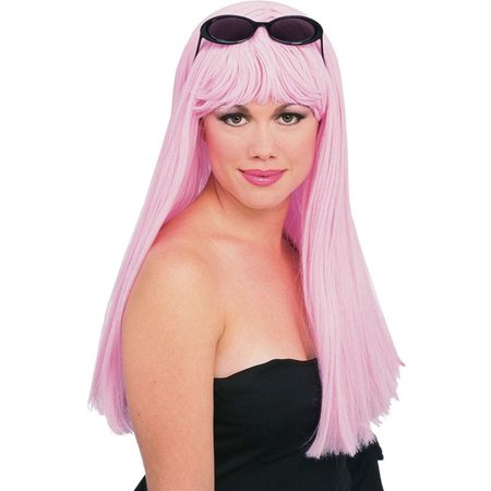 Adult Womens Light Pink Long Straight Costume Wig](Light Pink Wig)
