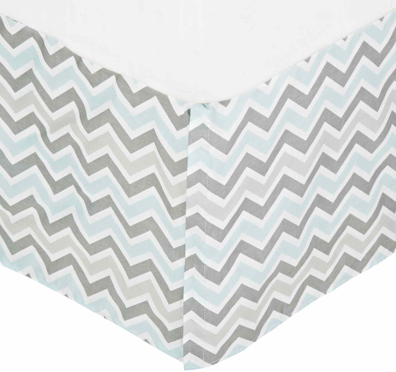 American Baby Company Cotton Percale Crib Skirt With Pleat - Gray Blue Zigzag