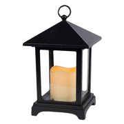 """Gerson 42030 - 9.1"""" x 5.9"""" Black Plastic Over Size Roof Lantern Melted Edge Battery Operated LED Ivory Resin Candle Light with Timer"""