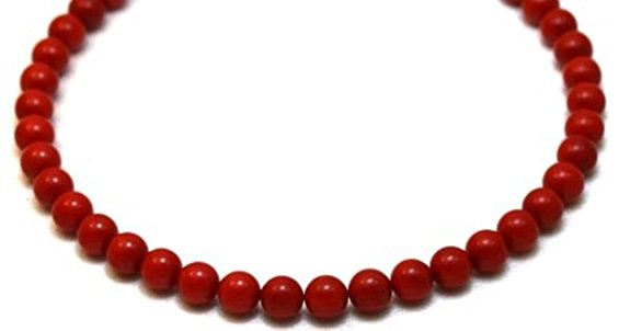 """Coral Necklace 11 mm Italian Coral Beads Beaded Necklace 17""""Long by Gino"""