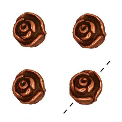 Copper Plated Pewter 3-D Rose Beads 7.5mm (4)