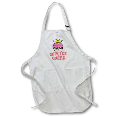 3dRose Cupcake Queen, Full Length Apron, 22 by 30-inch, White, With Pockets - Cupcake Queen