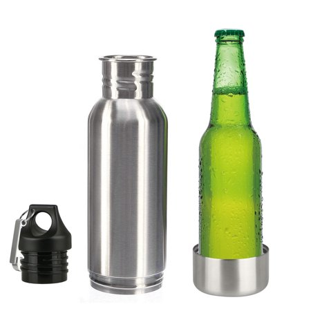 Beer Bottle Insulator, TSV Stainless Steel Beer Bottle Insulator Keeps Beer Colder With Opener/Beer Bottle Holder For Outdoor, Camping BBQ and Fishing (Silver) ()