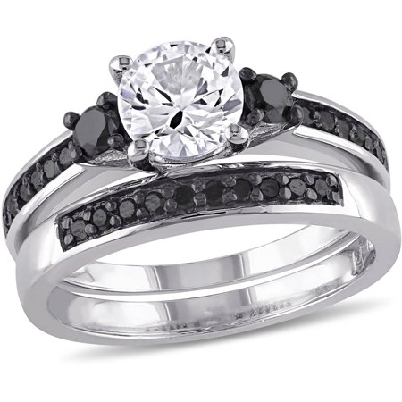 1-3/8 Carat T.G.W. Created White Sapphire and 2/5 Carat T.W. Black Diamond Sterling Silver Three-Stone Bridal Set