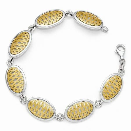 Sterling Silver Gold-tone Flash 24k-Flashed Bracelet - 14.3 Grams - 7.5 Inch