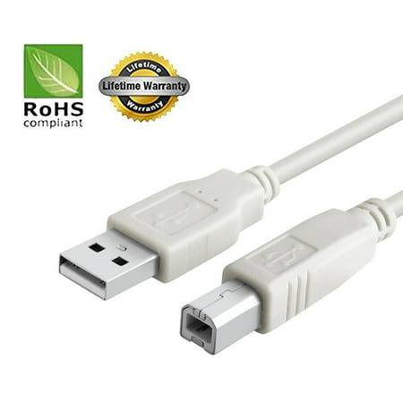 USB 2.0 Cable - A-Male to B-Male for Akai LPK25 Keyboard (Specific Models Only) - 10 FT/2 PACK/IVORY