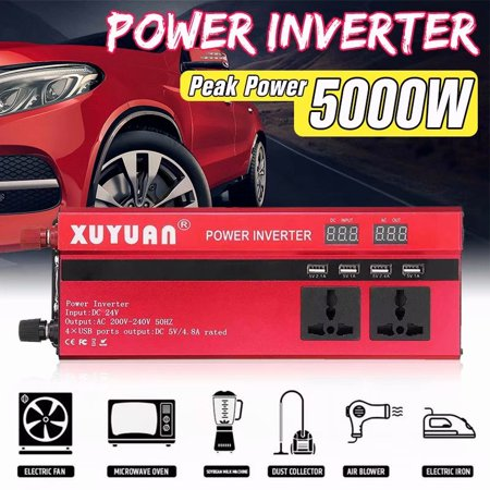3000w Power Inverter - 3000W DC12V to AC 110V Power Inverter Sine Wave Convert with 4 USB Ports 1 Sockets for Camp Home TV, Fan, Rice Cooker, Computer, Speaker etc.