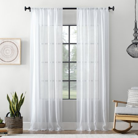 - Archaeo Textured Cotton Blend Sheer Curtain